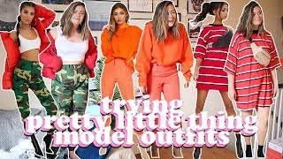 AVERAGE GIRL TRIES PRETTY LITTLE THING MODEL OUTFITS - SIZE 14 STYLE SWAP | LUCY WOOD