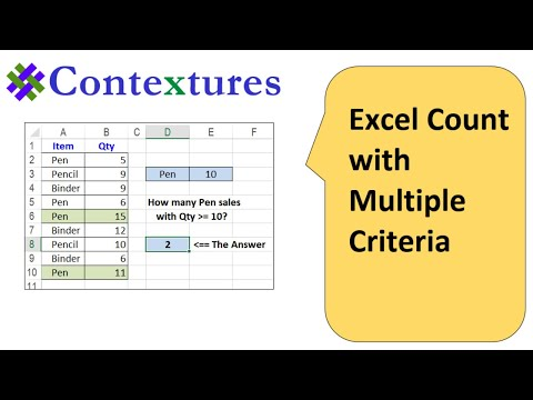 Excel Countifs Count With Multiple Criteria Youtube