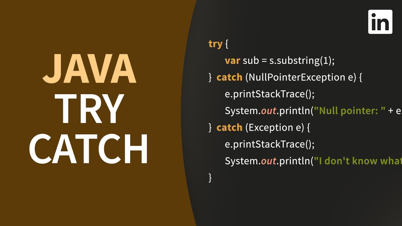 Java TRY CATCH for handling exceptions