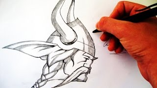 Como Desenhar a logo do Minnesota Vikings - (How to Draw Minessora Vikings logo) - NFL  LOGOS #4