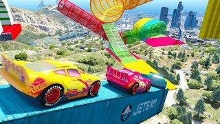 Cars 3 McQueen Stunt Jump UnderWater Miss Fritter Mack Truck Cruz Ramirez Jackson Storm Dinoco King