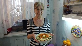 Салат из печени со свежими овощами.Еще легче,вкусней,полезней.
