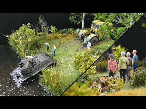 K-700A Mit T-34/76 Diorama Scale 1:35 / Diorama With K700A And T-34
