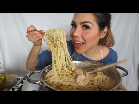 CREAMY Shrimp Pasta Cook & Eat With Me | Mukbang 먹방 - Eating Show