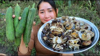 Yummy Rice Field Crab Stir Fry Recipe - Rice Field Crap Cooking Spong Gourd - Cooking With Sros