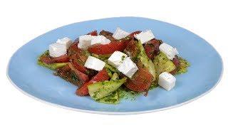 Салат из кабачков под зеленой заправкой. Без майонеза. Из подборки