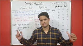 Concept of cost (PART 1) , difference between explicit cost and implicit cost, Short run cost