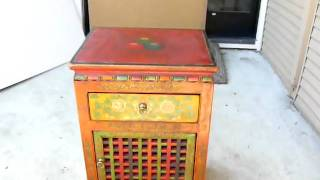 Flowers Painted Square Bar Tibetan Mid Size Cabinet W442