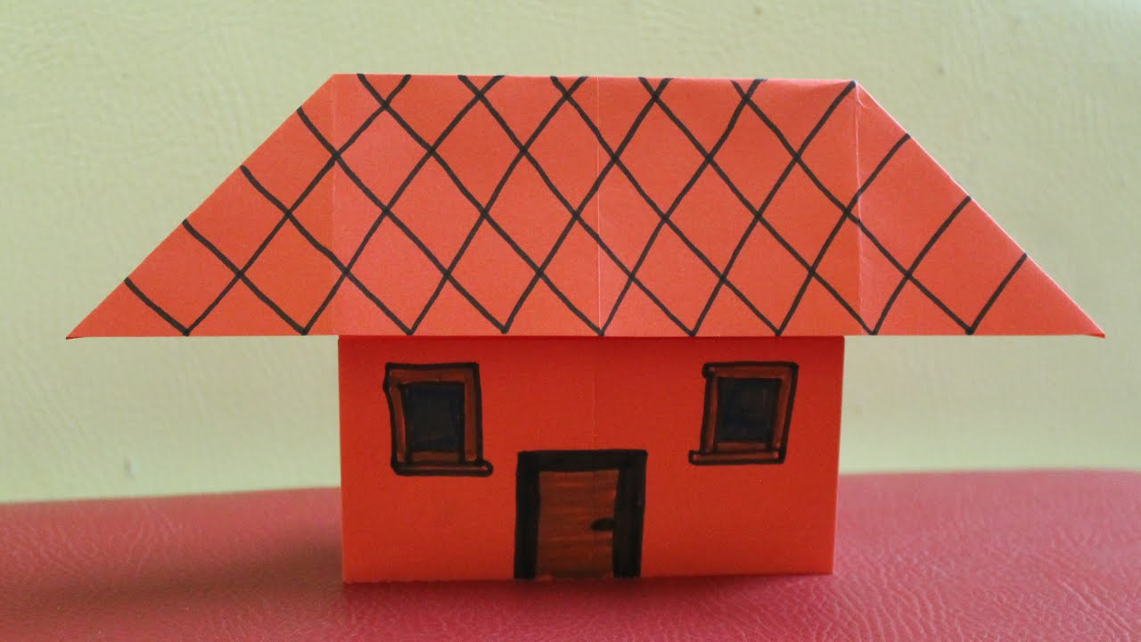 How to make a paper house without tape or glue youtube for How to make a house step by step