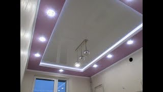 Интересный ремонт. Часть-3.Классный 2-ух ярусный потолок с подсветкой в кухне