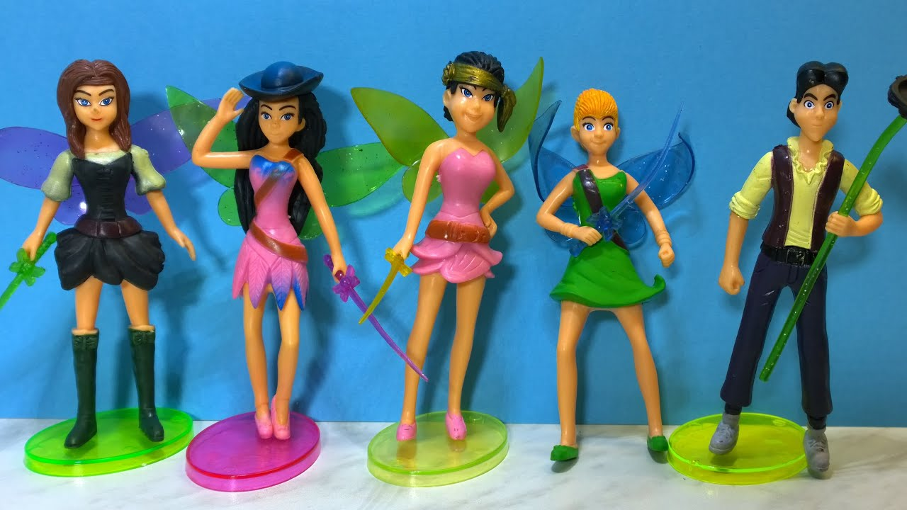 Disney tinker bell and the pirate fairy 5 characters unboxing toy