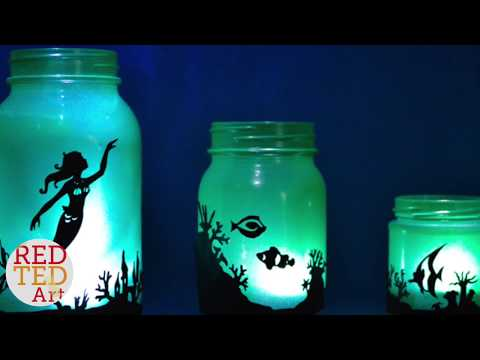 DIY Mermaid Lanterns - DIY Mermaid Decor - Mason Jar Lantern Mermaid DIY