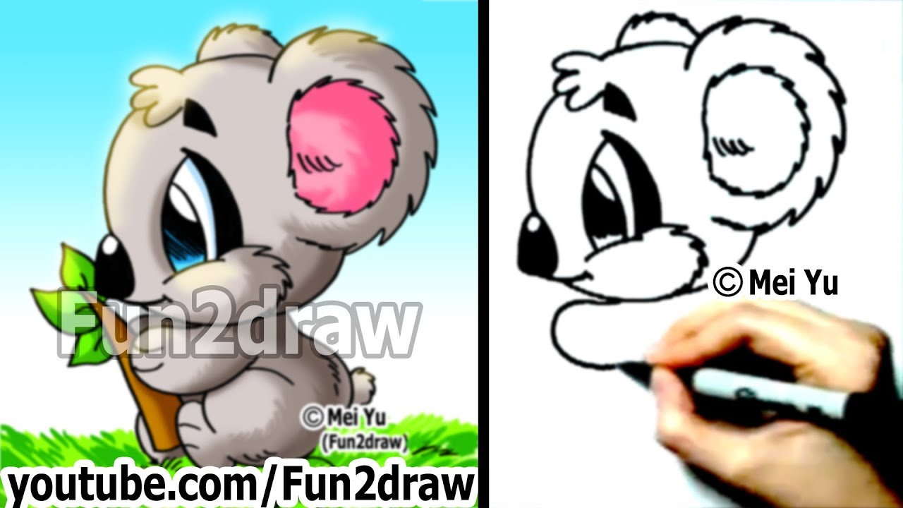 How To Draw Cartoon Animals A Koala