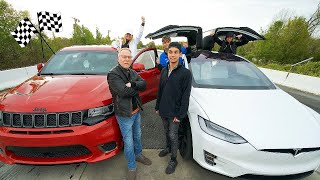 ANGRY DAD RACED US FOR $10,000! (Tesla Model X vs 1000 HP Jeep Trackhawk)