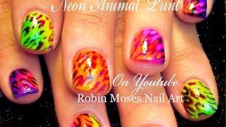 Diy Nail Art For Short Nails - Neon Animal Print Design Tutorial
