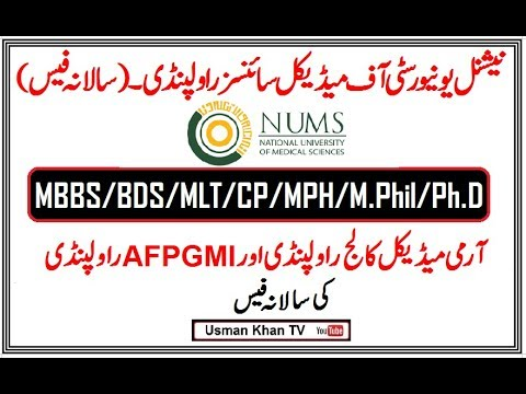 NUMS Fee for All Courses (MBBS/BDS/MLT/CP/M Phill/Ph D/MPH/Dip Card)