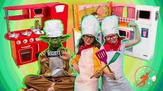 Kids Kitchen 5 -  w/ Yoda! Chocolate Cookie Dough SURPRISE + Kids Toy Kitchen Set, Pretend Cooking