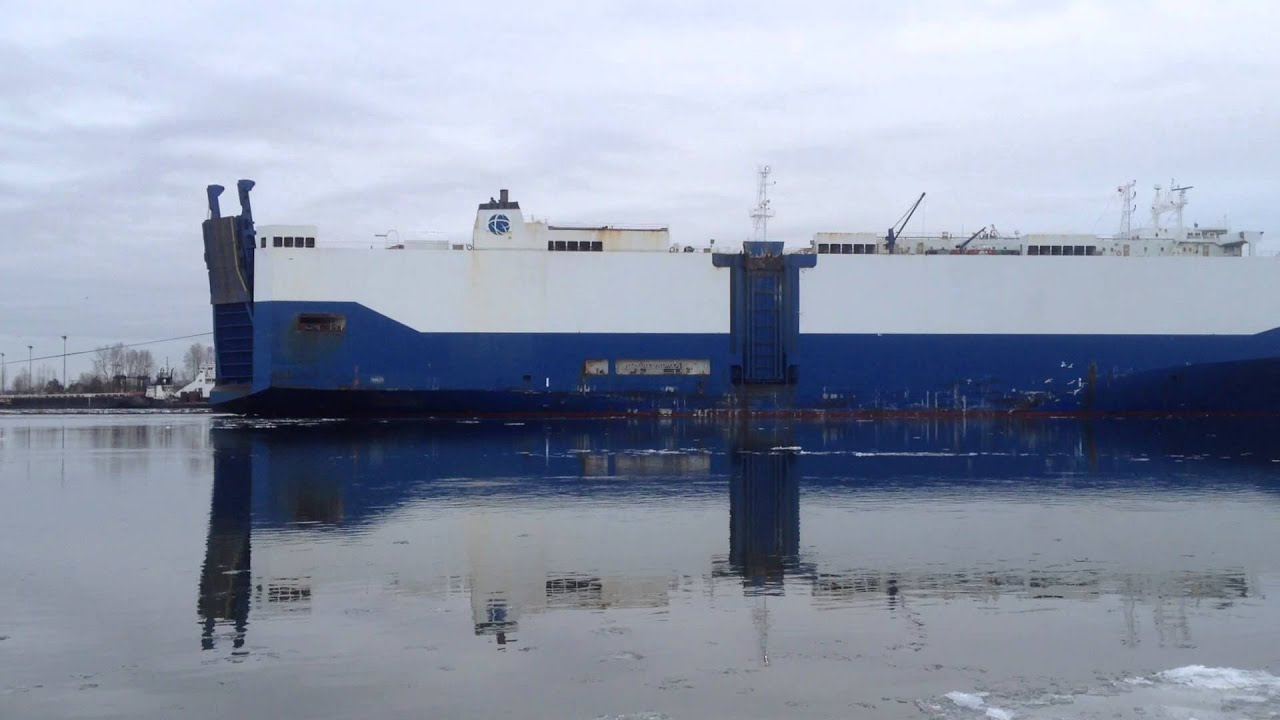 Big car carrier ship on the Fraser river  Richmond BC Canadca