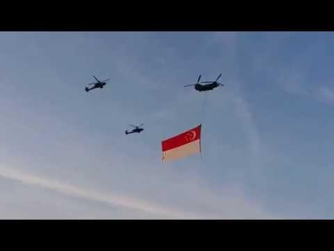 National Day Parade NDP 2014 Rehearsal Singapore Flag Flying across Marina Barage