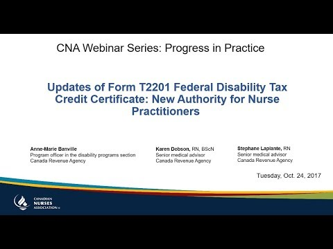 Updates Of Form T2201 Federal Disability Tax Credit Certificate...