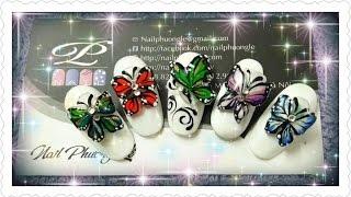 Làm bươm bướm nổi 3D kết hợp vẽ gel, vẽ gel pha và trang trí đính đá lên móng tay 1