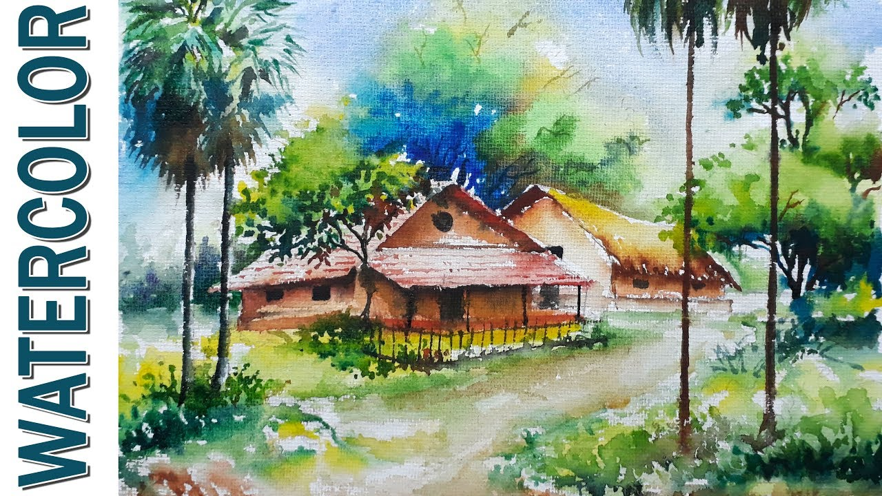 Watercolor painting for beginners village landscape on for Watercolor scenes beginners