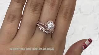 Mini Vintage Floral Milgrain Moissanite Bridal Set Crown Diamond Band
