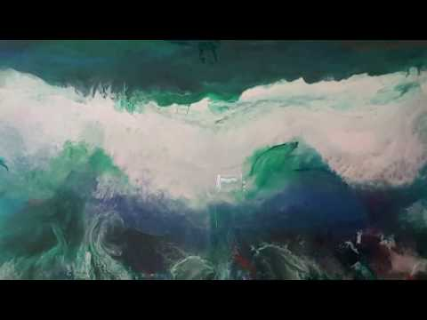 Crashing wave Resin painting on canvas 2nd layer. Controlled  manipulation.