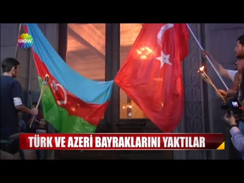 Türk ve Azeri bayraklarını yaktılar!