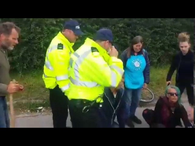Police beef up security at Lancashire fracking site after protester is hit by van