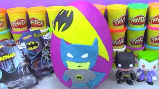 huge batman giant play doh surprise egg with toys from disney big hero 6 and more