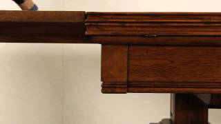 Scandinavian Carved Oak 1920's Library, Writing Or Dining Table H-21127