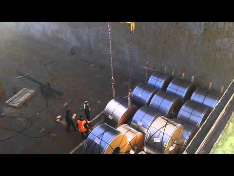 Steel coil preloading steel survey at Sagunto port.
