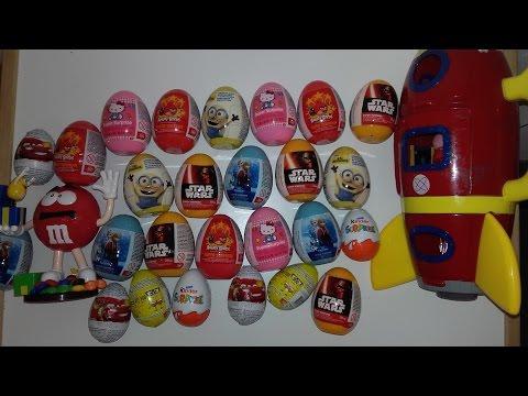 50 Surprise Eggs!! play doh - Star Wars - Hello Kitty - Angry Birds SpongeBob Frozen Cars Minions