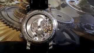 Montblanc reveil automatic alarm watch. Working with view of movement.