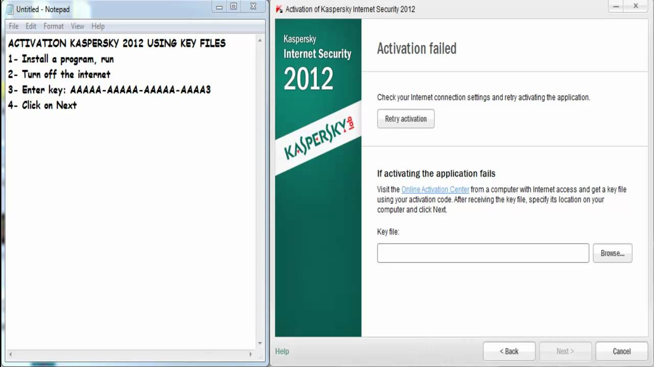How To Activate Kaspersky 2013 Using Key File - YouTube