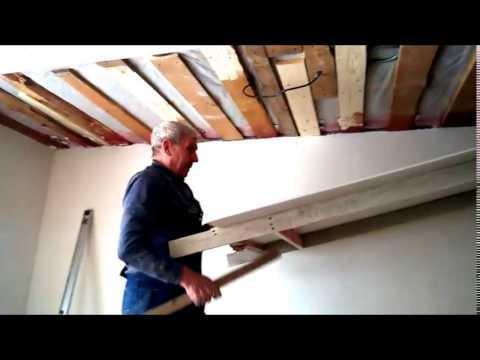 как одному закрепить гипсокартон на потолке