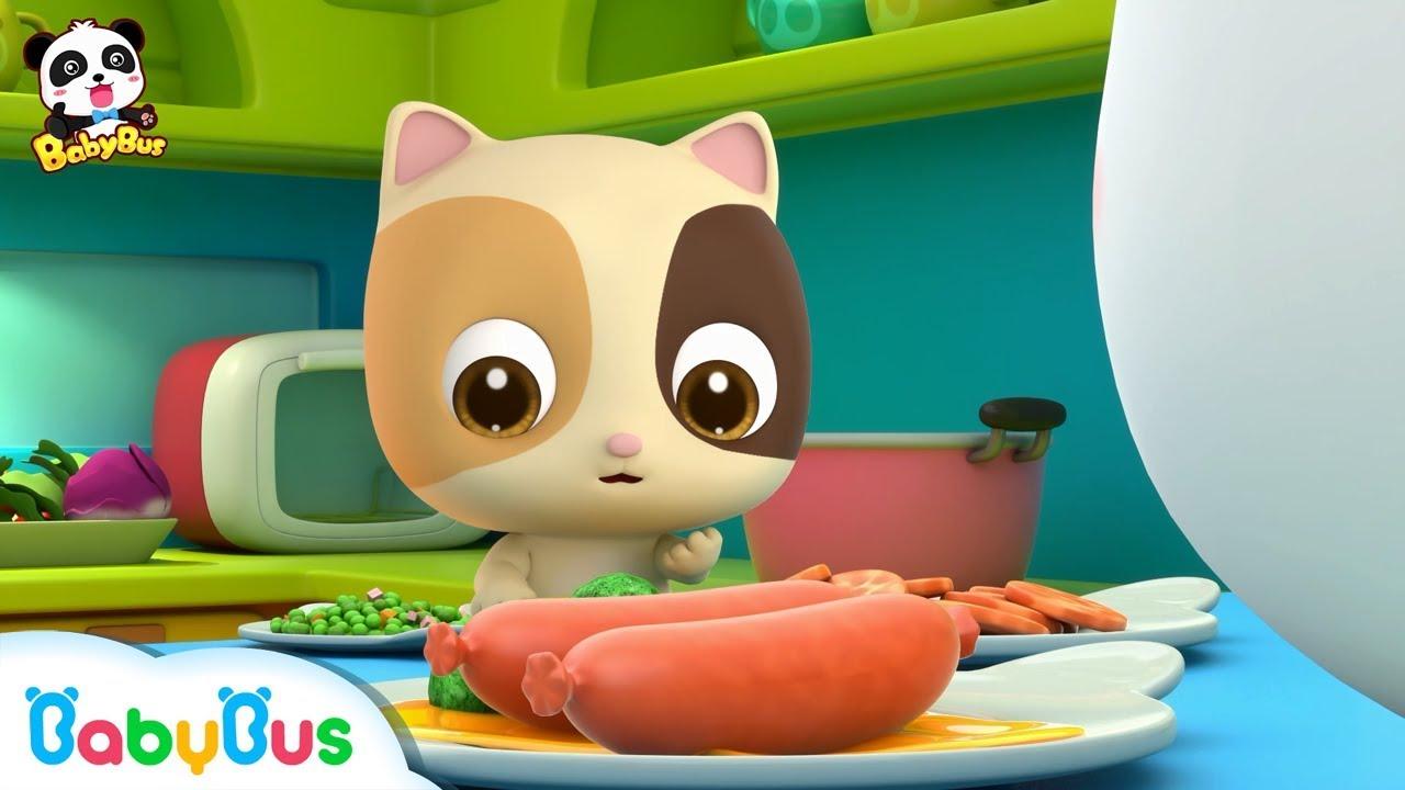 Baby Kitten Loves Eating Hams | Learn Vegetables | Kids Good Habits | BabyBus