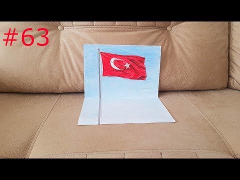 29 EKİM CUMHURİYET BAYRAMI İÇİN BAYRAK ÇİZİMİ  3D  (3D FLAG DRAWING) #63