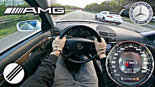Mercedes-Benz E63 AMG W211 TOP SPEED DRIVE ON GERMAN AUTOBAHN 🏎