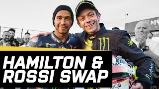 The Best of Lewis Hamilton & Valentino Rossi's Swap | Highlights | Crash.net