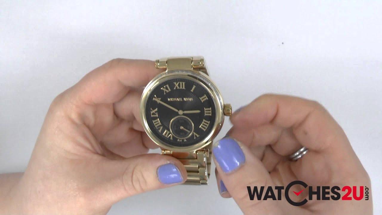 fcce51ea7295 MK5989 Michael Kors Ladies Skylar Black Gold Watch - YouTube
