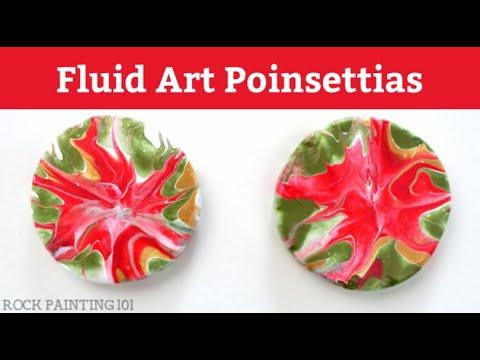 Fluid Art Poinsettias Acrylic Pour Painted Rock Design