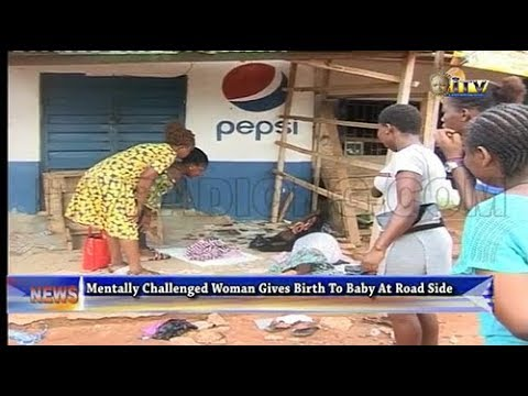 Mentally challenged woman gives birth to baby at road side