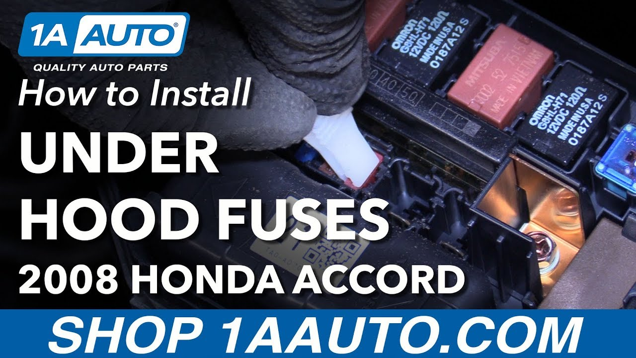 where to find under hood fuse box how to change fuses 08 12 honda accord [ 1280 x 720 Pixel ]