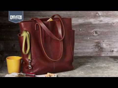 6cbde2e772a Duluth Trading Women's Lifetime Leather Tote - YouTube