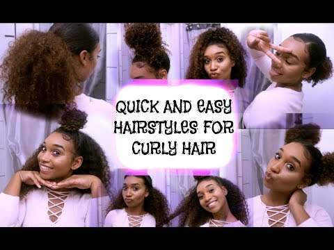 8 QUICK AND EASY HAIRSTYLES FOR CURLY HAIR!!