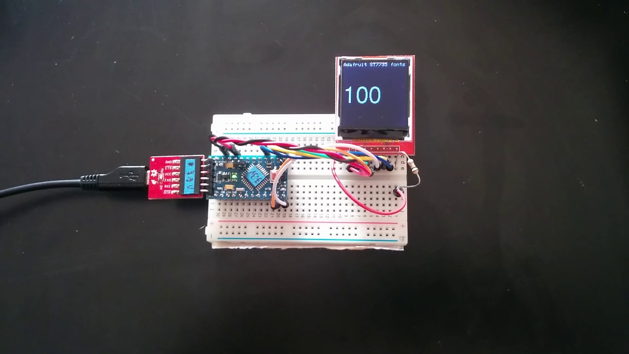 8 MHz Arduino, Adafruit ST7735 library w/ font