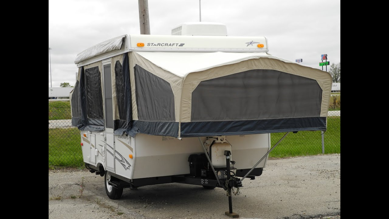 2008 STARCRAFT POP UP FOLDING TRAILER AIR CONDITIONING POWER LIFT BATHROOM  SHOWER I94RV   YouTube