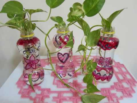 Diy Painting Plastic Bottle Flower Vase Using Nail Polish Youtube